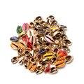10 шт., золотые вены для самостоятельного изготовления ювелирных изделий, ограненные раковины из натурального моря, Декор для дома, оболочка ...