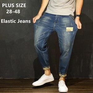 Image 2 - שחור ג ינס גברים ג ינס הכחול ז אן במצוקה Mens Jogger מכנסיים היפ הופ הרמון למתוח איש נער מכנסיים בתוספת גודל 42 44 46 48