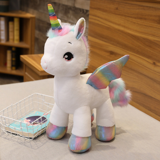 40cm ~100cm Giant Unicorn Plush toy Fantastic Rainbow Glowing Wings Stuffed Unicornio Doll toys for girl