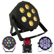 1 шт. светодиодный светильник 7x18 Вт RGBWA + UV Par с DMX512 6in1 сценический светильник с эффектом стирки DJ Disco 7x12 Вт 54x3 Вт 12x3 Вт Мини Светодиодный точечн...