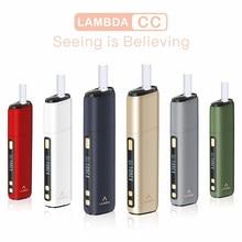 Mais novo lambda cc calor nenhum dispositivo de queimadura oled tempo de fumo e temperatura ajustável 3200mah não queimar calor iqosticks tabaco kits