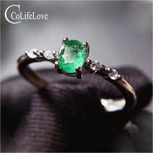 CoLife مجوهرات بسيطة خاتم فضة الزمرد للارتداء اليومي 4*5 مللي متر الطبيعية الزمرد خاتم الخطوبة 925 خاتم فضي بأحجار كريمة