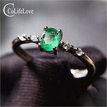 CoLife 쥬얼리 간단한 실버 에메랄드 반지 매일 착용 4*5mm 천연 에메랄드 약혼 반지 925 실버 보석 반지