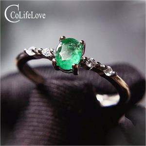 Image 1 - CoLife Jewelry Simple Silver Emerald Ring for Daily Wear 4*5mm Natural Emerald Engagement Ring 925 Silver Gemstone Ring