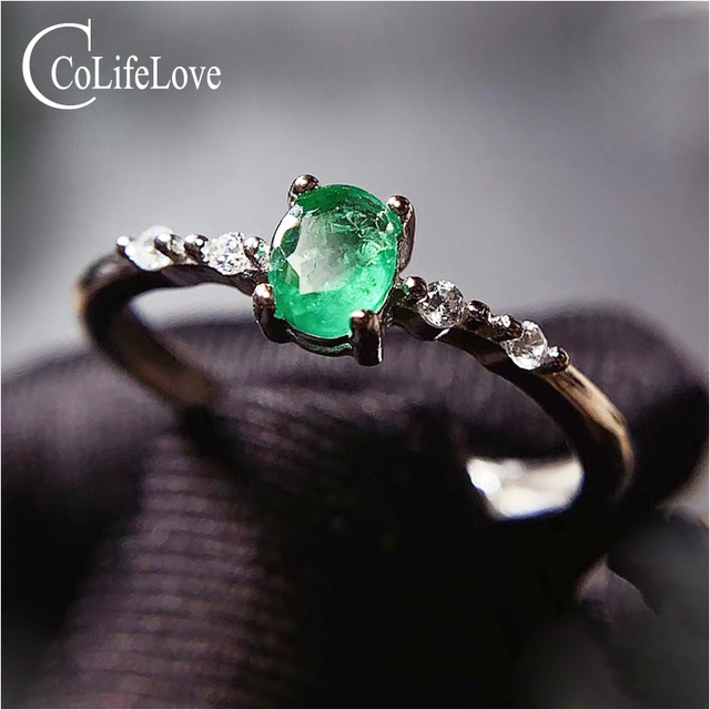 CoLife Jewelry Simple Silver Emerald Ring for Daily Wear 4*5mm Natural Emerald Engagement Ring 925 Silver Gemstone Ring