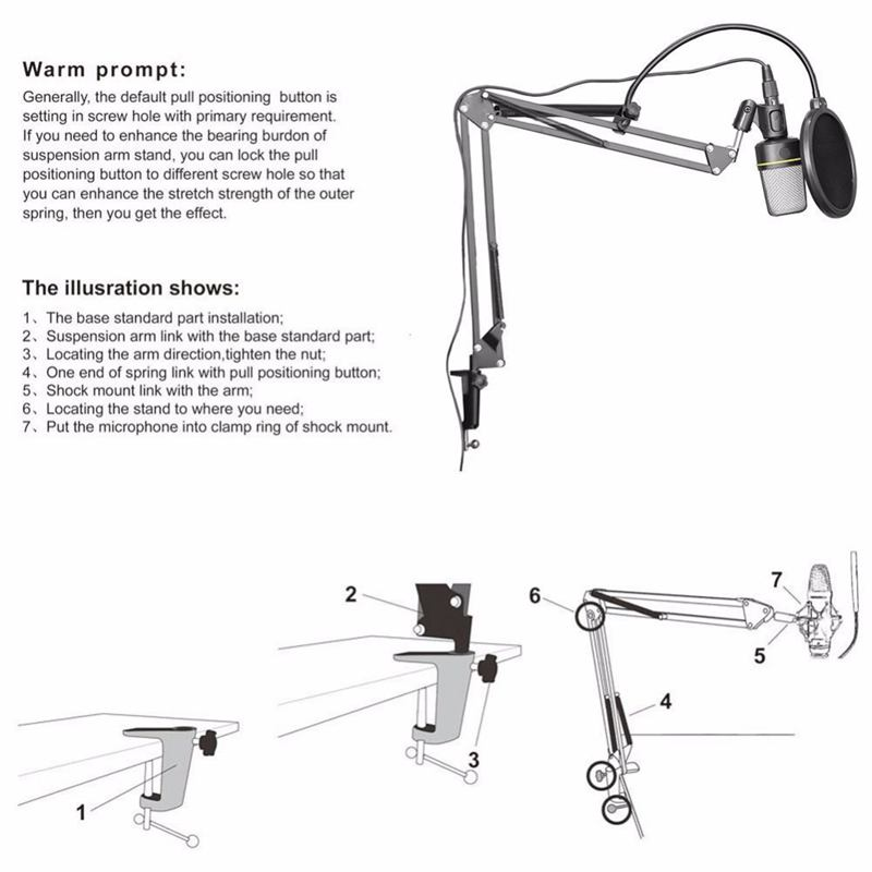 Image 4 - Top Deals NB 35 Microphone Suspension Arm Stand Clip Holder and Table Mounting Clamp Filter Windscreen Mask Shield Clip KitsMic Stand   - AliExpress