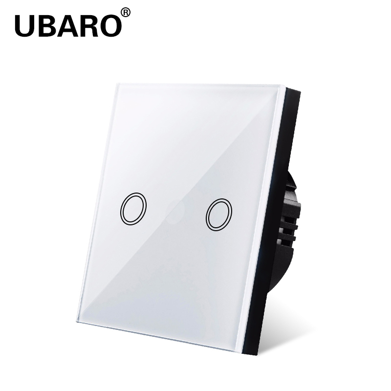 UBARO  Touch Switch, EU Standard, White Crystal, Glass Panel, Touch Switch, Ac220v,2, 2 Way, Wall Lamp, Wall Touch Screen