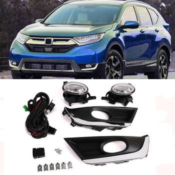 Areyourshop 1Pair Trim Front Bumper Fog Light Lamp Bulb+Switch+Wire For Honda CRV CR-V 2017 2018 Clear Fog Light Car Accessories