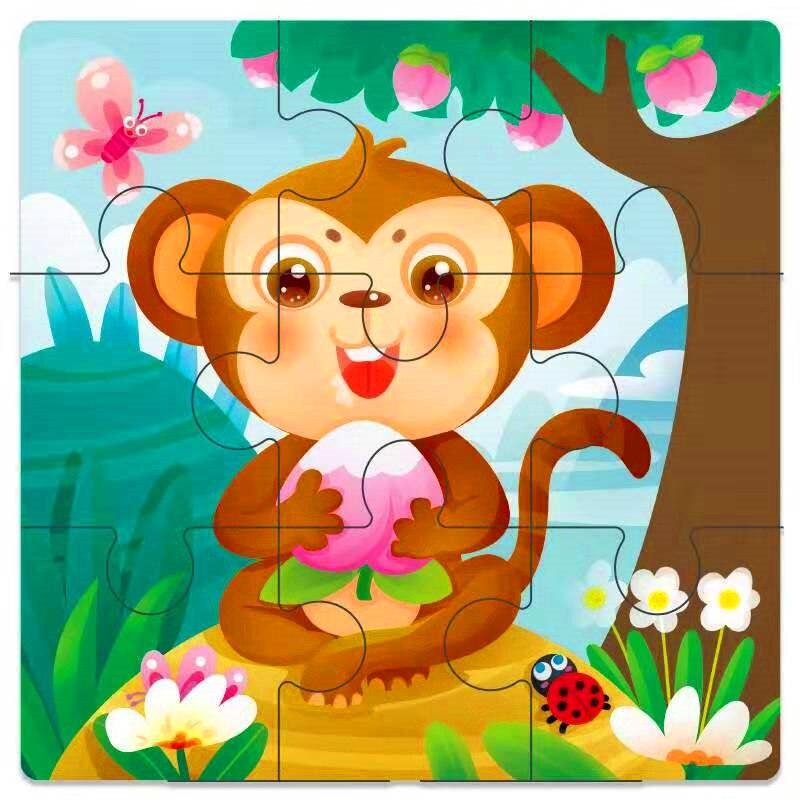 Мини Размер 11*11 см детская игрушка деревянная головоломка деревянная 3D головоломка для детей Детские Мультяшные животные/дорожные Пазлы обучающая игрушка - Цвет: Кофе