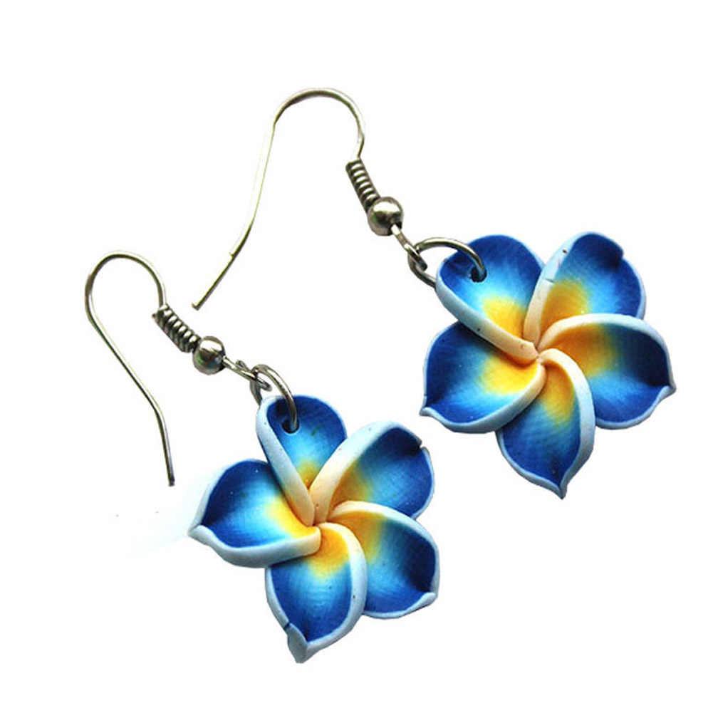 Hawaii Frangipani Bloem Sieraden Set Polymeer Klei Oorbellen Ketting Hanger Modieuze Charmante Klassieke Modieuze & Exquisite