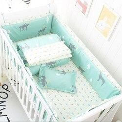6 pcs/set Baby Bedding Set Reactive Newborns Crib Bumper Cotton Baby Bed Bumpers Comfortable Crib Bumper Infant Protector Hot
