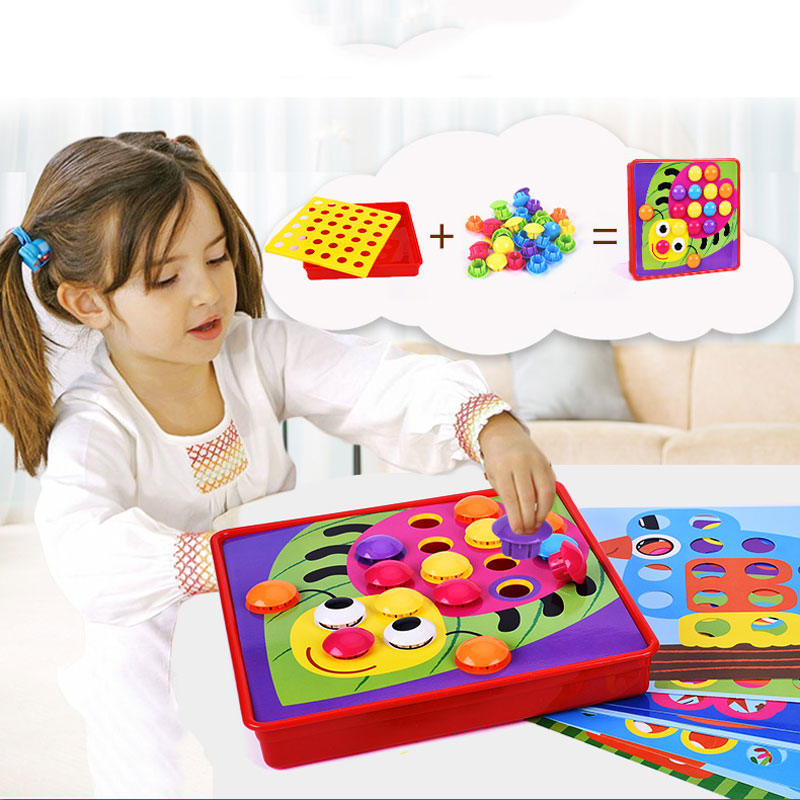 3D Puzzle Toys Composite Picture Puzzle Creative Mosaic Mushroom Nail Kit Children's Educational Toys Game Kids Button Art Toy