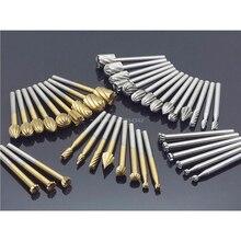 20 قطعة مجموعة HSS دريمل التوجيه التيتانيوم طحن الخشب الروتاري سكين ملف القواطع حفر على الخشب منحوتة أدوات تقطيع اكسسوارات