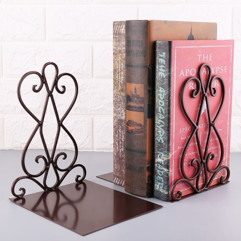 1 Pair Portable Metal Bookends Book Stand Holder Desktop Rack Shelf For Home Office Supplies|Bookends|Education & Office Supplies - title=