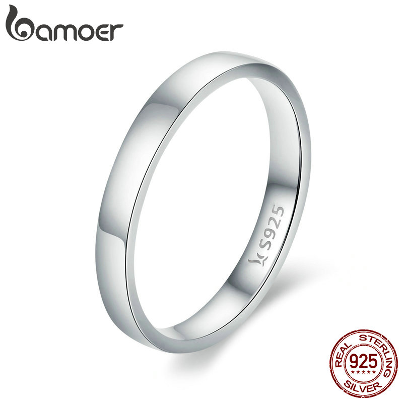 BAMOER High Quality 925 Sterling Silver Wedding Ring Classic Round Finger Ring Women Wedding Engagement Jewelry Gift SCR343