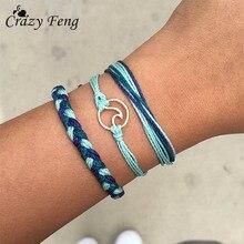 цена на Crazy Feng Charm Rope Brcelets for Women Handmade Multiple Layers Wave Wristband Bracelets Bangles Fashion Accessory
