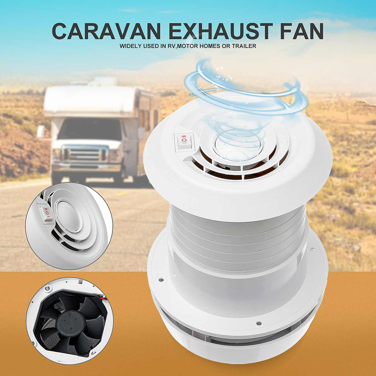 12V RV Energy-saving Motorhome Noiseless Roof Vent Ventilation Cooling Exhaust Fan For Travel Motor Homes Trailer