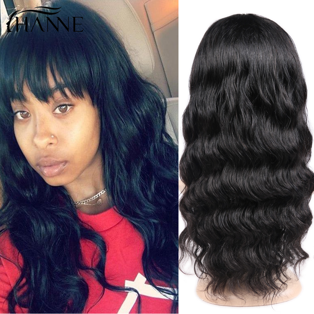 Human Hair Loose Deep Wave Wigs With Bangs Brazilian Human Hair Wigs Remy Wig For Women Natural Black HANNE Hair
