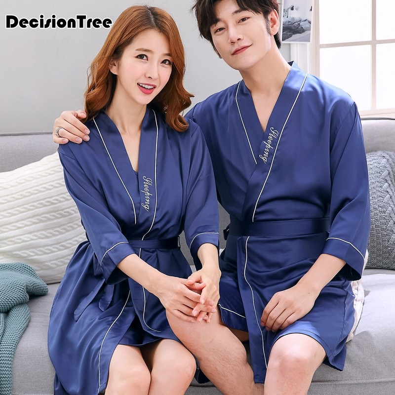 2020 Chinese Men's Embroidery Kimono Satin Silk Two Face Robe Bath Gown Dragon