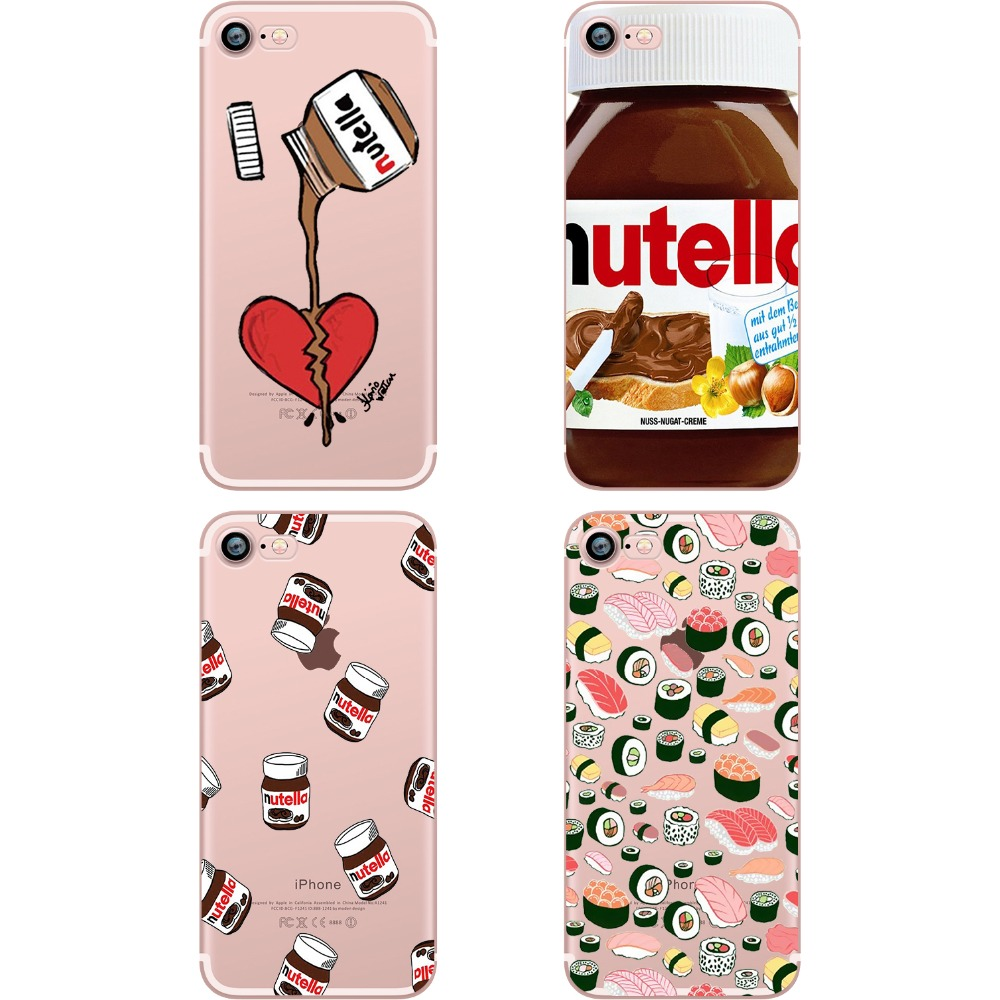 Carcasă de telefon ciciber Cute Tumblr Nutella Design Sushi Clear Soft Silicon TPU Cover Cover for Apple iPhone 6 6S 7 8 Plus 5S SE X