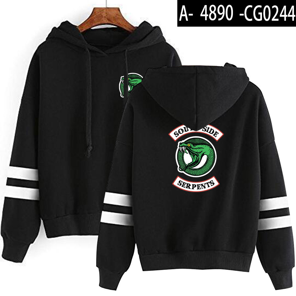 Riverdale Southside Serpents Hoodies Sweatshirts MenS Women South Side Serpents Hoodie Long Sleeve Striped Pullover Top Oversize 8