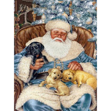 """Полный 5D Diy Daimond картина """"Санта Клаус и щенок"""" 3D Алмазная живопись круглые стразы Алмазная вышивка Рождество"""
