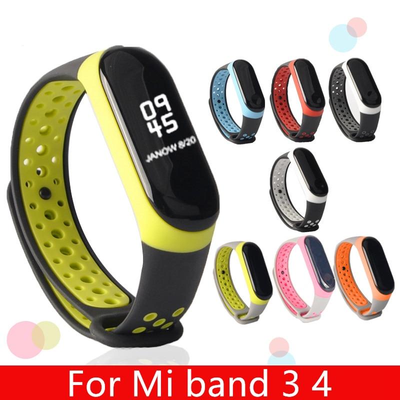 Para mi banda 3 4 cinta esporte silicone relógio de pulso pulseira mi band3 acessórios pulseira inteligente para xiao mi mi banda 3 4 cinta