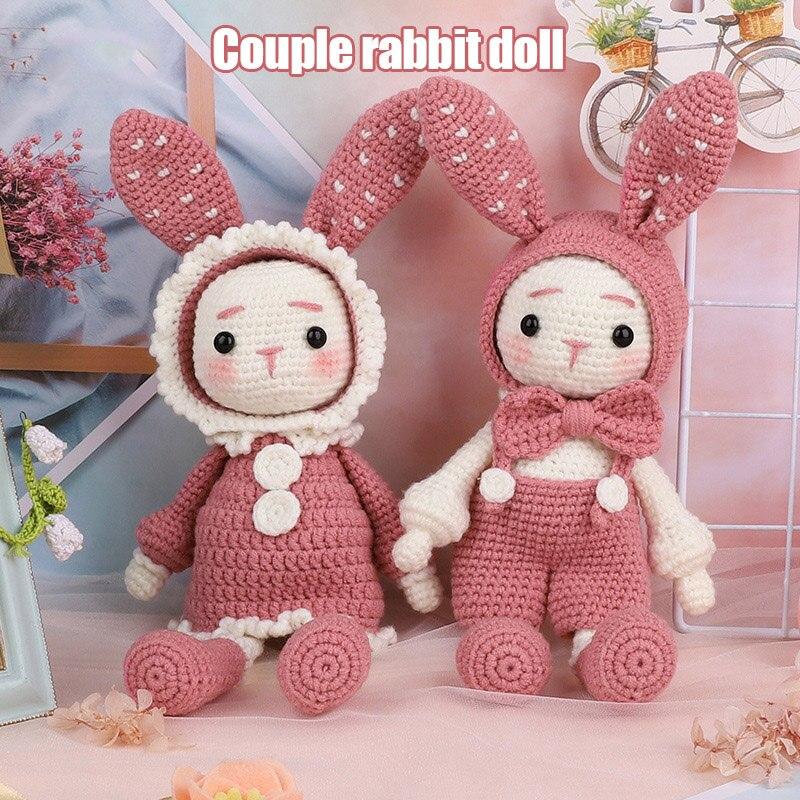 Handmade Crocheted Wool Dolls Material Pack DIY Long Ears Rabbits Handmade Dolls H99F