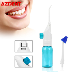 AZDENT Manual Operative Oral Irrigator 2 Jet Tips with Nasal Cavity Washer Spray Head Oral Teeth Tooth Denture Cleaner 90ml Blue