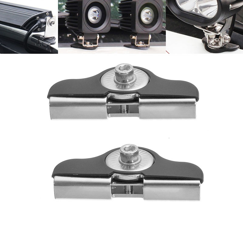 Pair Car Universal Stainless Steel LED HID Bar Light Mounting Bracket Hood Engine Free Punching LED Work Light Strip Bracket