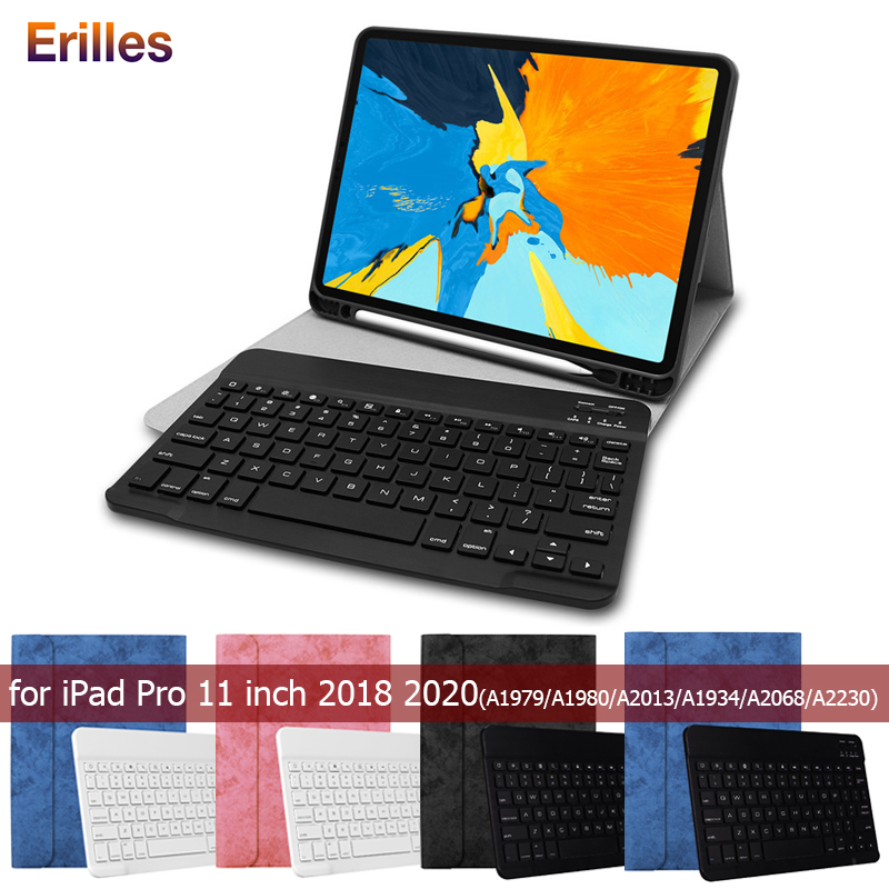 Russian Spanish Keyboard <font><b>Case</b></font> for <font><b>iPad</b></font> Pro 11 2018 2020 Pencil Holder <font><b>Case</b></font> Cover A1979 <font><b>A1980</b></font> <font><b>Case</b></font> with Keyboard Leather Funda image