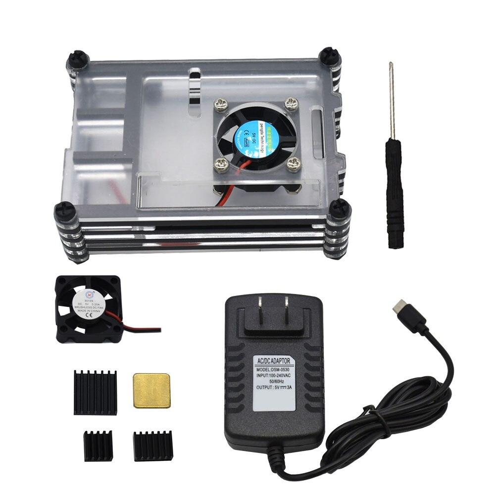 EU US Plug Power Adapter 9 Tier Acrylic Resin Protector Case For Raspberry Pi 4 Model B+DC 5V Cool Fans+4Pcs Heat Sinks