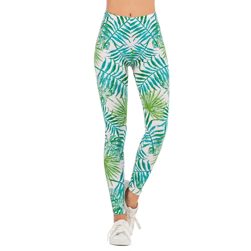 Brands Women Fashion Legging WATERCOLOUR PALMS Printing Leggins Slim High Waist Leggings Woman Pants