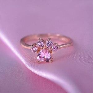 Женские кольца с милым мультяшным котом и лапой, элегантные кольца с розовым цирконием, свадебные украшения