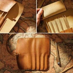 Image 3 - 100% hakiki deri roll up kalem çantası çanta organizatör Wrap çantası Vintage Retro yaratıcı okul kırtasiye ürün