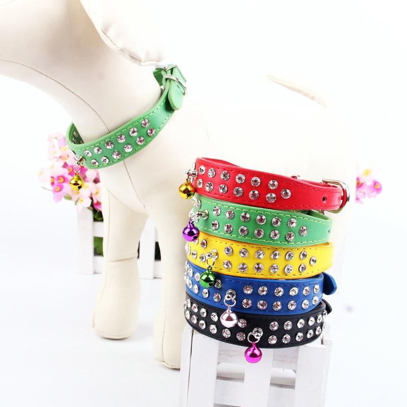 Pet Dog Man-made Diamond Bell Neck Ring Bag Drilling Pu High Grade Neck Ring Teddy Bichon Small Dogs Collar Neck Ring