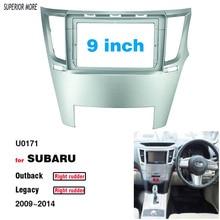 2 Din 9 Inch Car Radio DVD GPS Mp5 Plastic Fascia Panel Frame for SUBARU LEGACY Outback Right Rudder 2009-2014 Dash Mount Kit