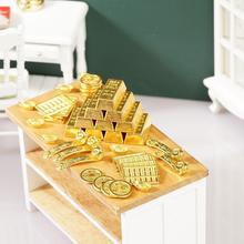 Miniature Model House Accessories Mini Ruyi Gold Ingot Model Gold Decoration Copper Bar Coin H9R2