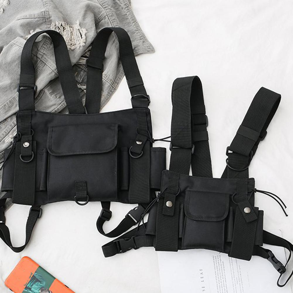 Fashion Men Multi Pockets Double Straps Nylon Chest Bag Vest Streetwear Pack