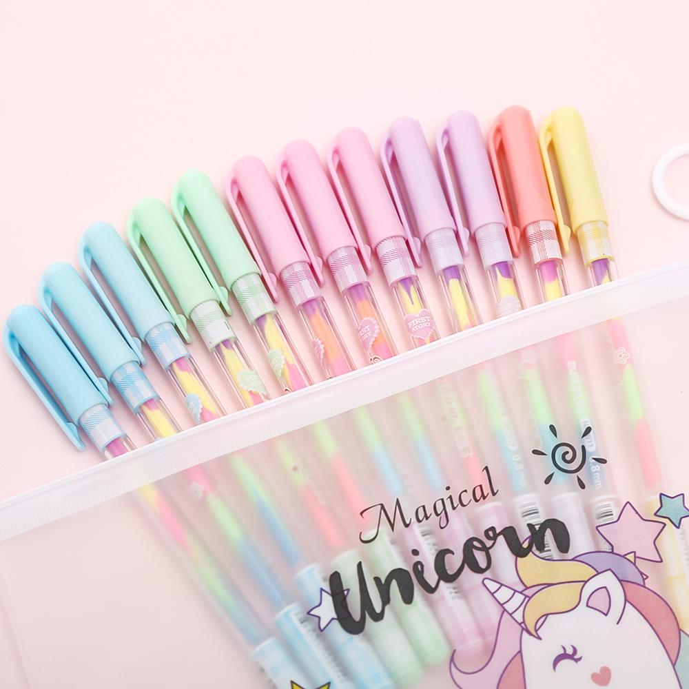 12pcs 6 In 1 Water Color Gel Pen Kawaii Creative Rainbow School Things Ink Pens For Students Gift Candy Color Cute Office Statio