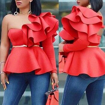 цена на One Shoulder Long Sleeves Red White Women Top