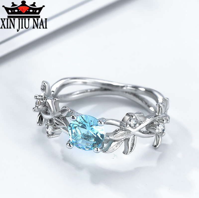 Fashion Sea Blue Crystal Beauty Princess Ring Elegant Lady Exclusive Jewelry Party CZ Charming Girl Jewelry
