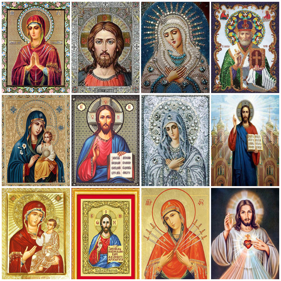 5D DIY Diamond Painting Jesus Saint, Mother Mary Cross Stitch Mosaic Art Diamond Embroidery Home Decoration Gift