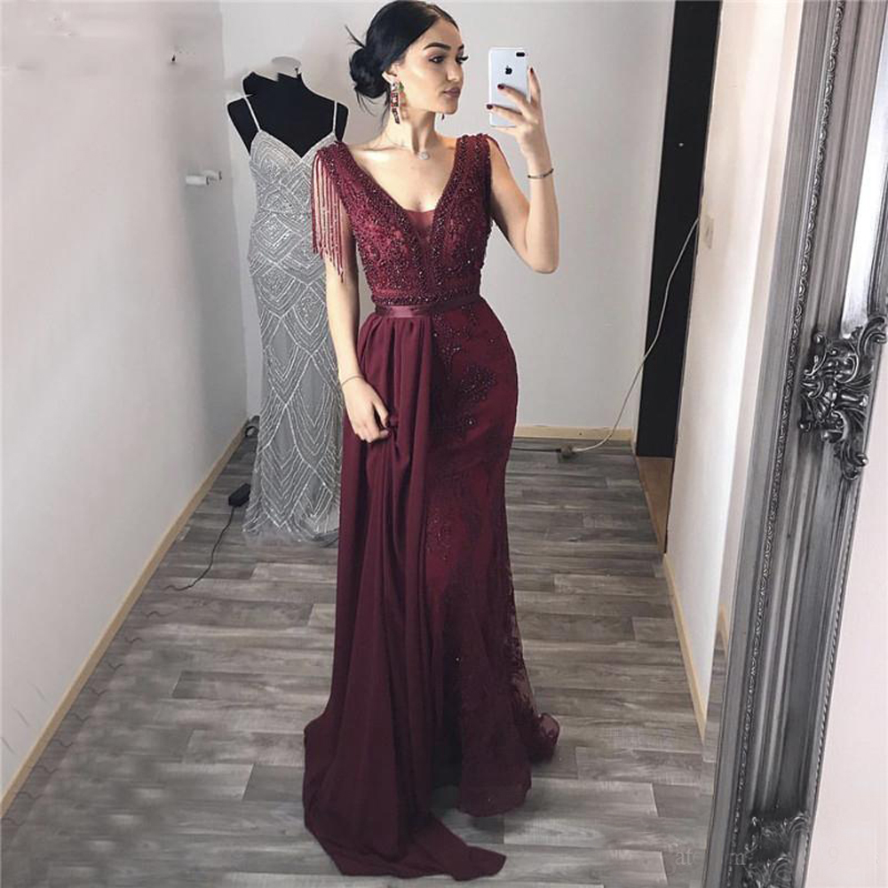 Vintage bordeaux dentelle sirène robe de soirée avec détachable Train perles Appliques v-cou 2020 longue Pageant fête formelle robe