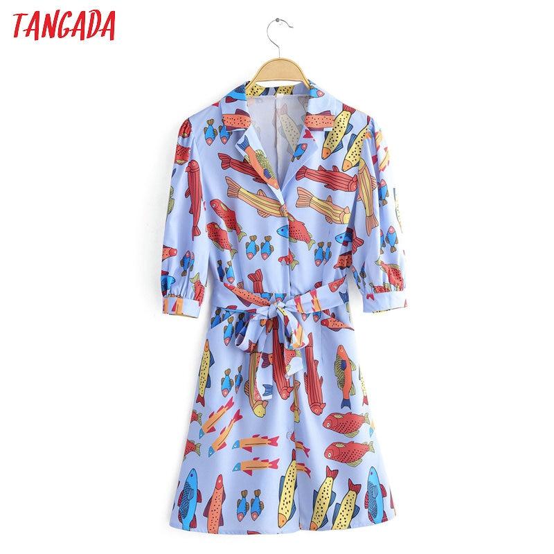 Tangada Women Stylish Fish Print Mini Dress Three Quarter Sleeve Bow Tie Sashes Female Casual Stylish Dresses Vestido 1F29