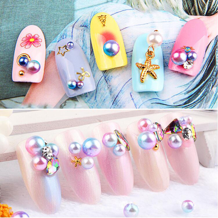 Manicure Color Pearl Decorative Items Mobile Phone Resin DIY Jewelry Japanese-style Candy Ball Nail Sticker 12-Color Set