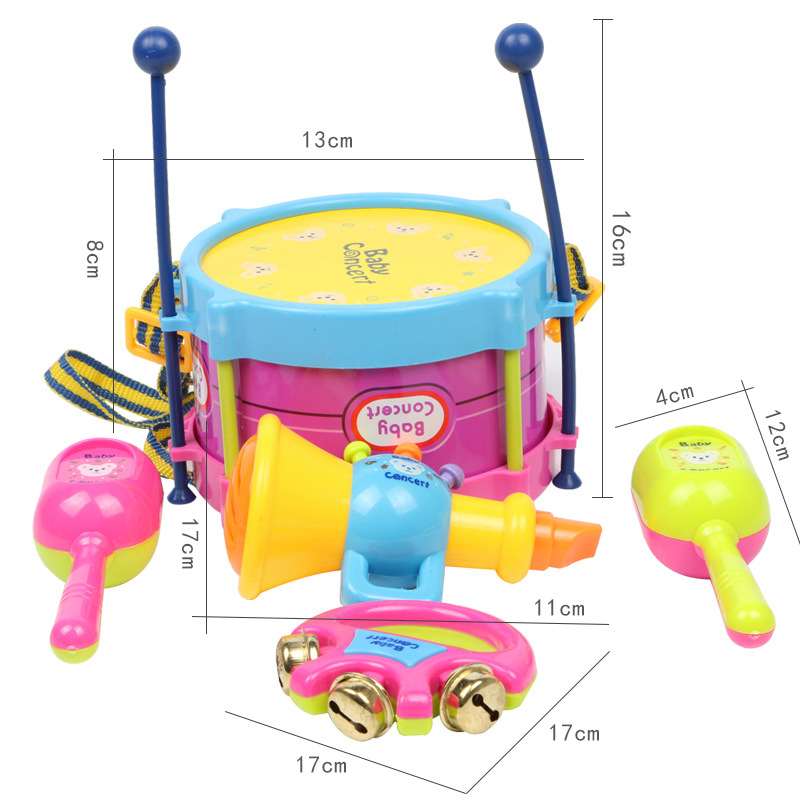 Children Joy Hand Drum Early Childhood Music Drum Children Kids Drum Baby Toy Shoot 7 Unisex Set
