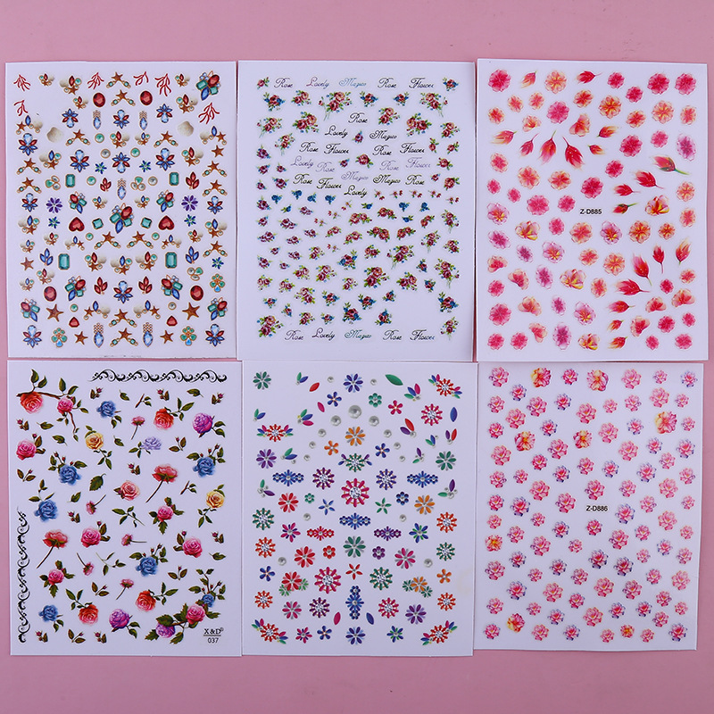Nail Sticker Cartoon Nail Sticker Simple-Style Flower Manicure Flower Stickers Manicure Decorations Japan Children Adhesive Pape