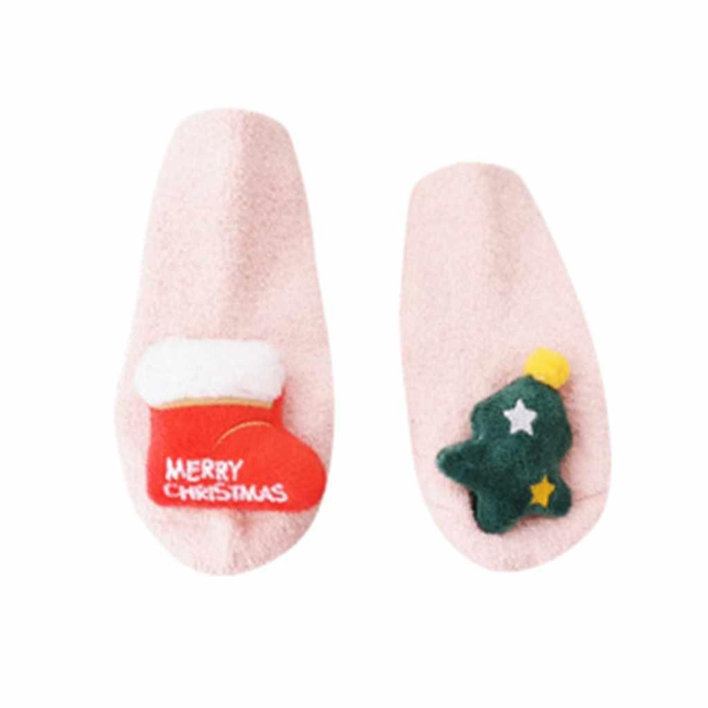 Calcetines calientes de algodón para bebés y niñas de Navidad para invierno y otoño, Calcetines antideslizantes para muñeca de dibujos animados en 3D, calcetines media altura # C