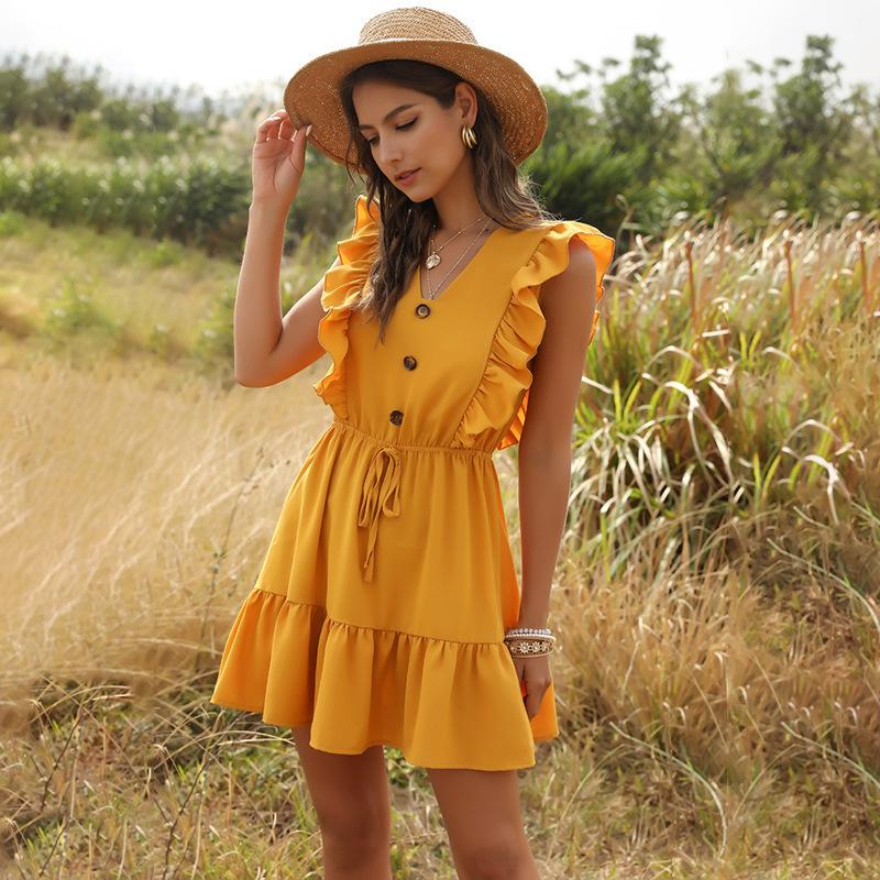 Women Summer Dress Casual Boho Beach Ruffles 2020 Mini Dress Party Sexy V Neck High Waist Female Dresses